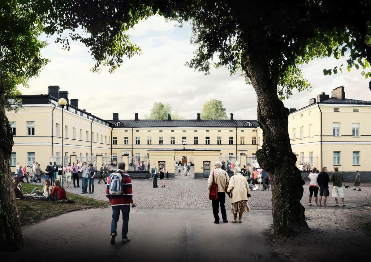 Havainnekuva Lapinlahden sairaala-alueen päärakennuksesta.