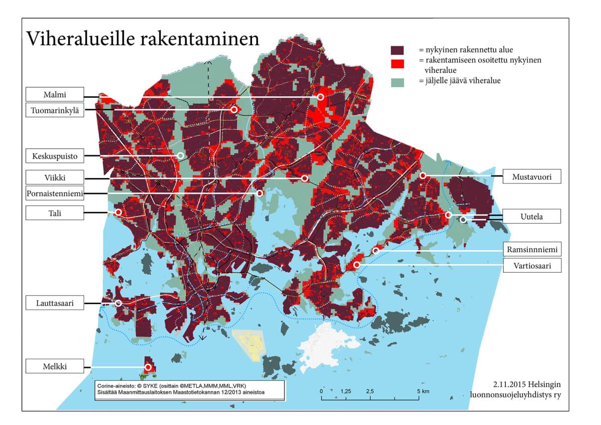 Helsingin luonnonsuojeluyhdistyksen kartta viheralueille ulottuvista suunnitelmista.