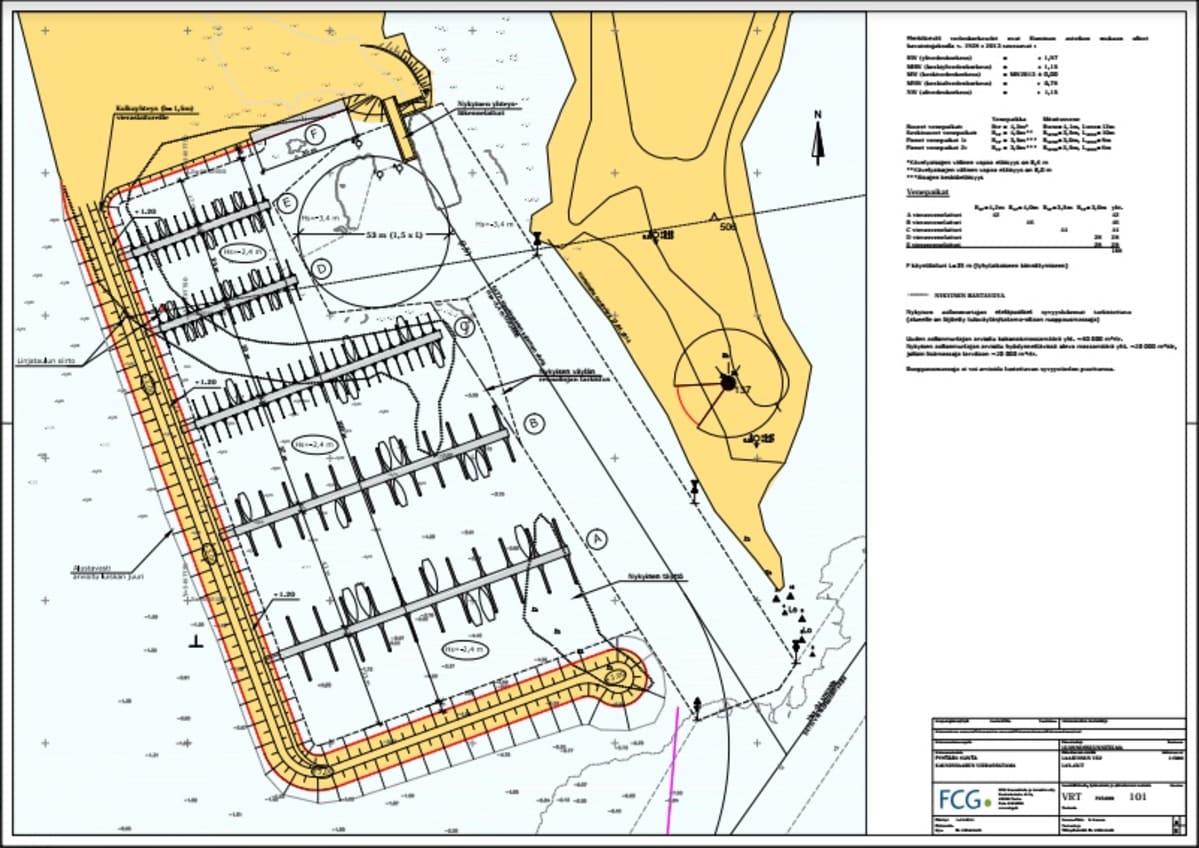 karttakuva Kaunissaaren sataman laajennussuunnitelmasta