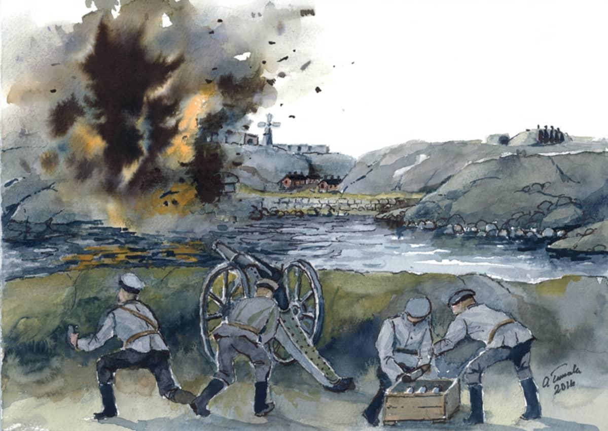 Kohtalokas tykinlaukaus Santahaminasta. Alpo Tuurnalan akvarelli, Keisarin perintö -kirjan kuvitusta.