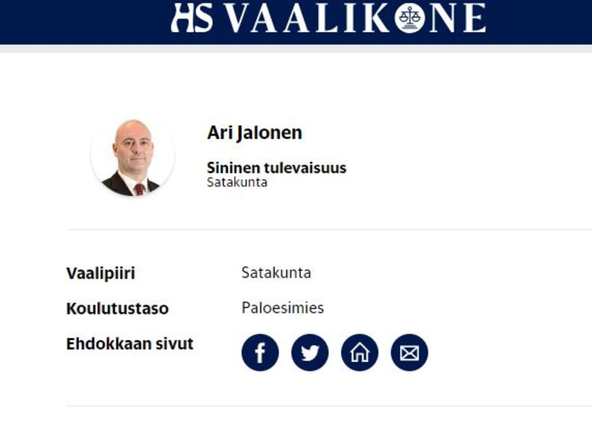 Ari Jalosen kuva Helsingin Sanomien vaalikoneesta.