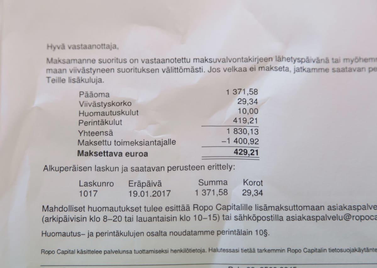 Mauri Häkkisen saama 429,21 € perintälasku
