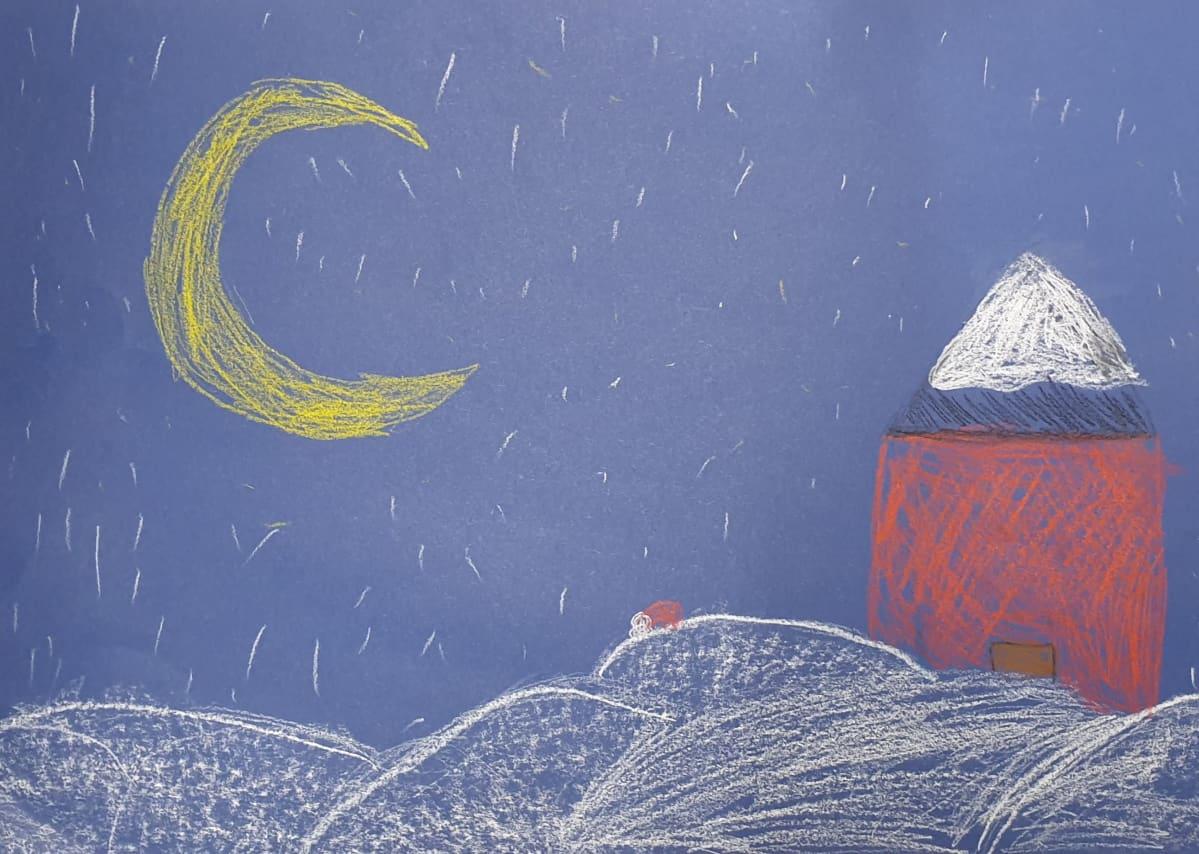 lapsen piirustuksessa tonttu seikkailee lumessa