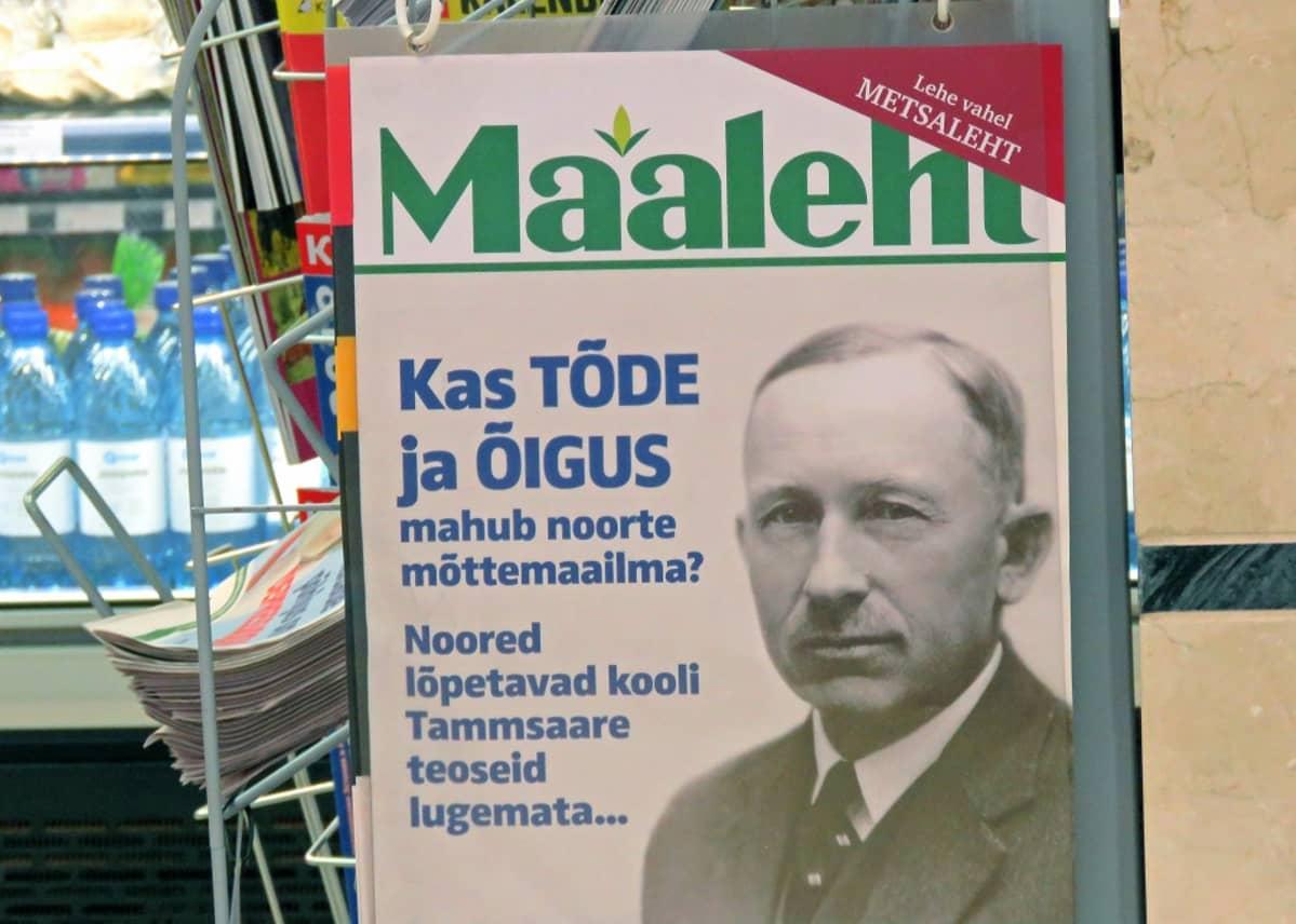 Lehden lööppi, jossa myös Tammsaaren kasvokuva.