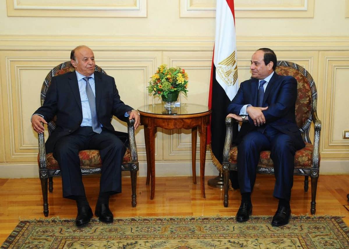 Egyptin presidentti Abdel Fattah al-Sisi ja Jemeinn presidentti Abedrabbo Mansour Hadi