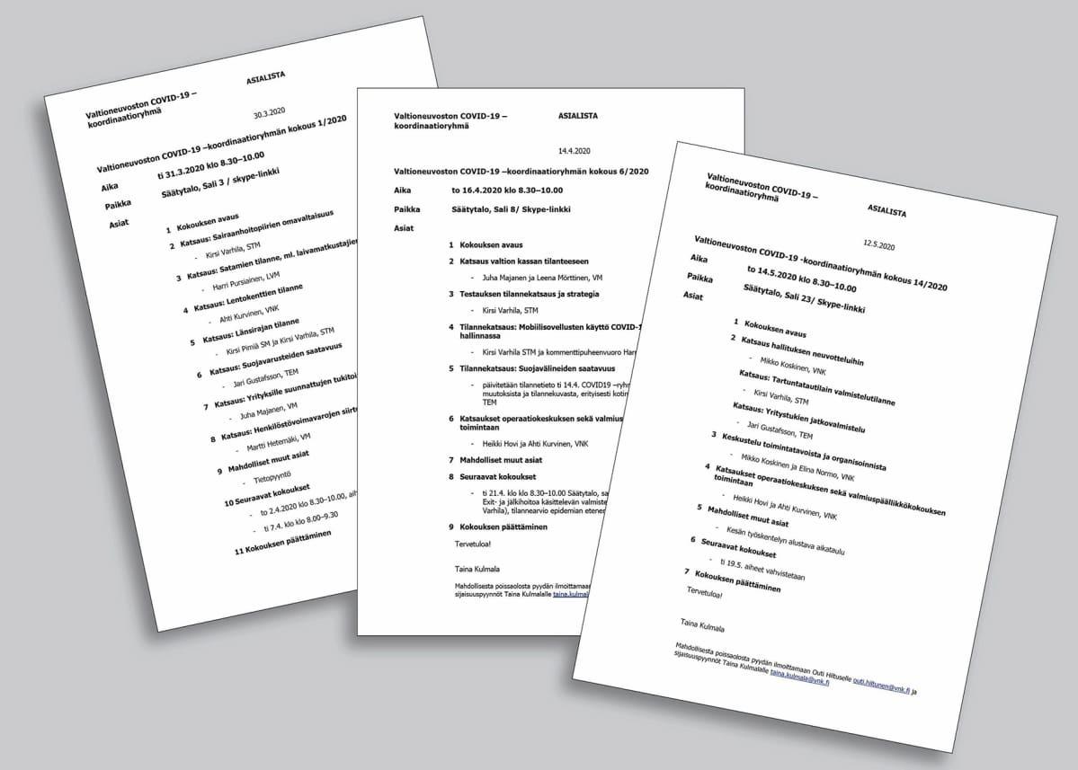 Valtioneuvoston COVID- 19 asialistat 30.3., 14.4. ja 12.5.