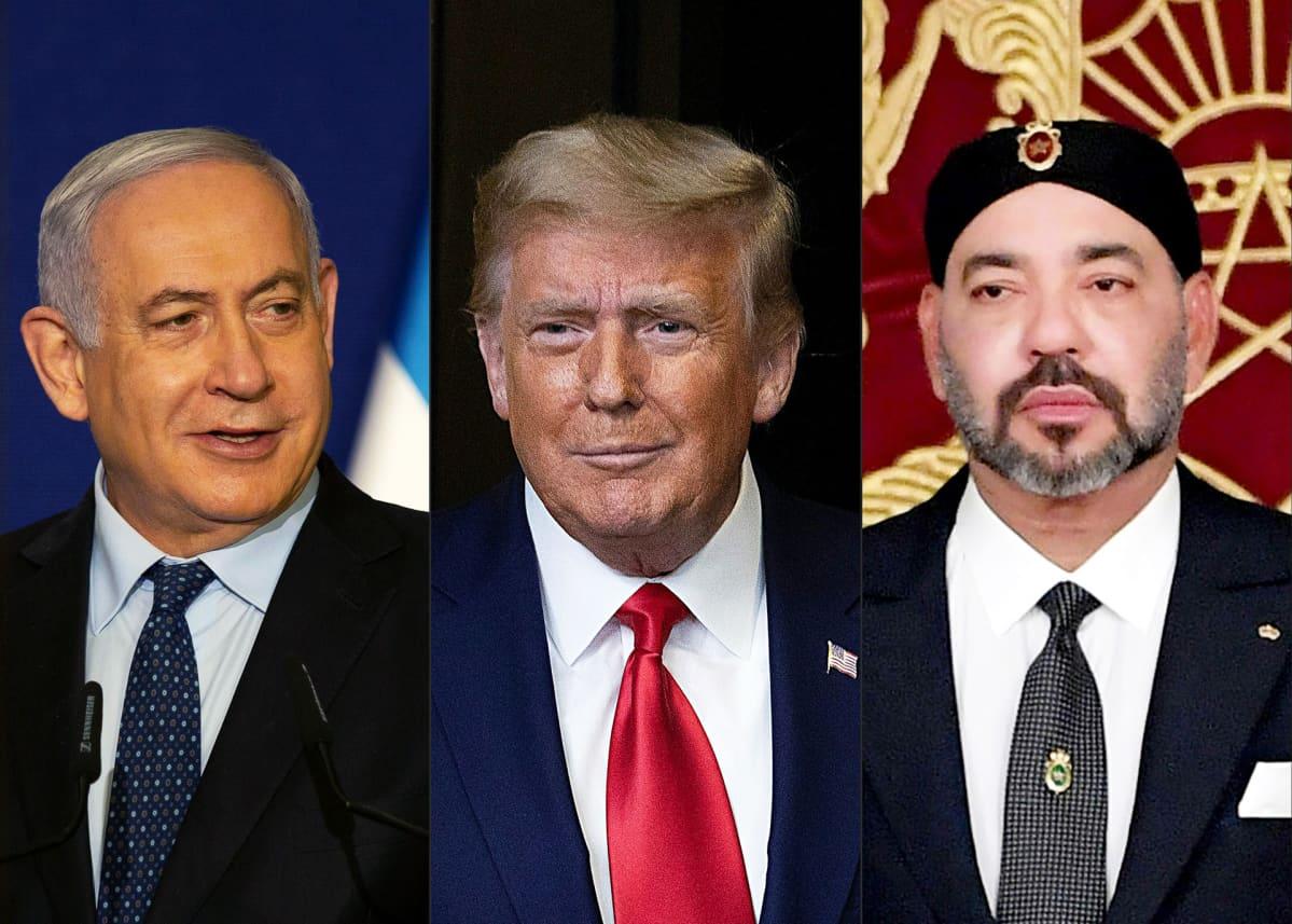 Israelin pääminisrteri Benjamin Netanjahu, Yhdysvaltain presidentti Donald Tump ja Marokon kuningas Mohammed VI