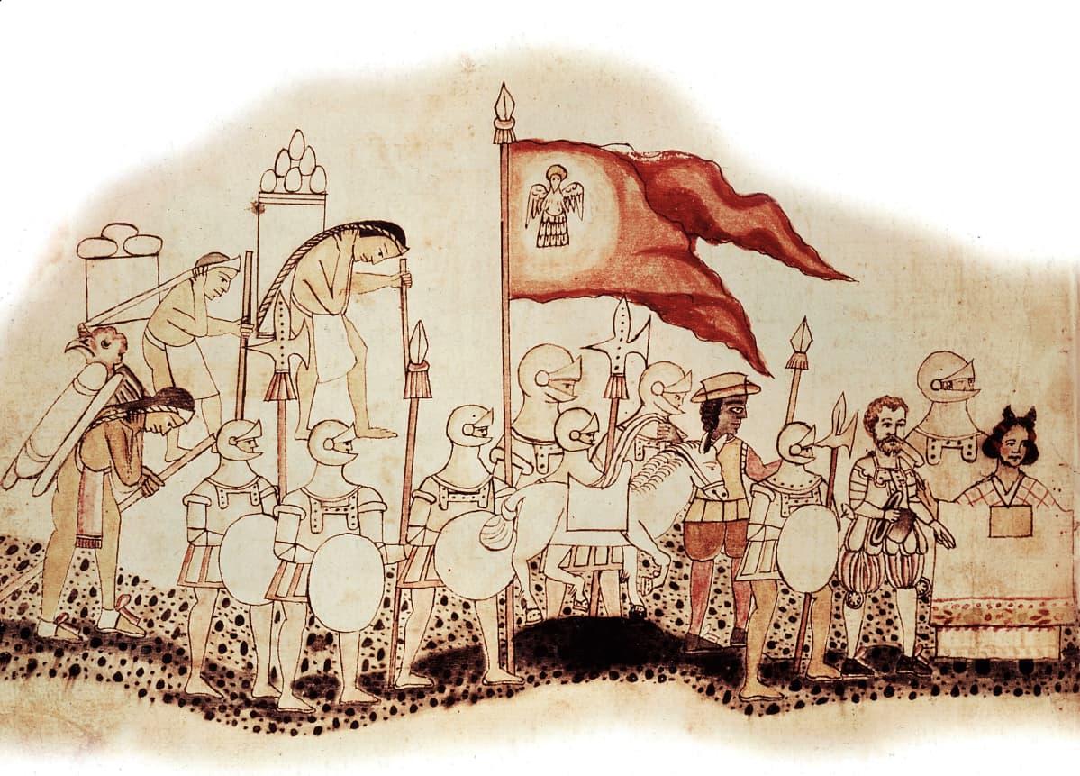 Hernan Cortés johtaa haarniskoitujen sotilaiden joukkoa ja intiaanikantajia vanhassa piirroksessa.