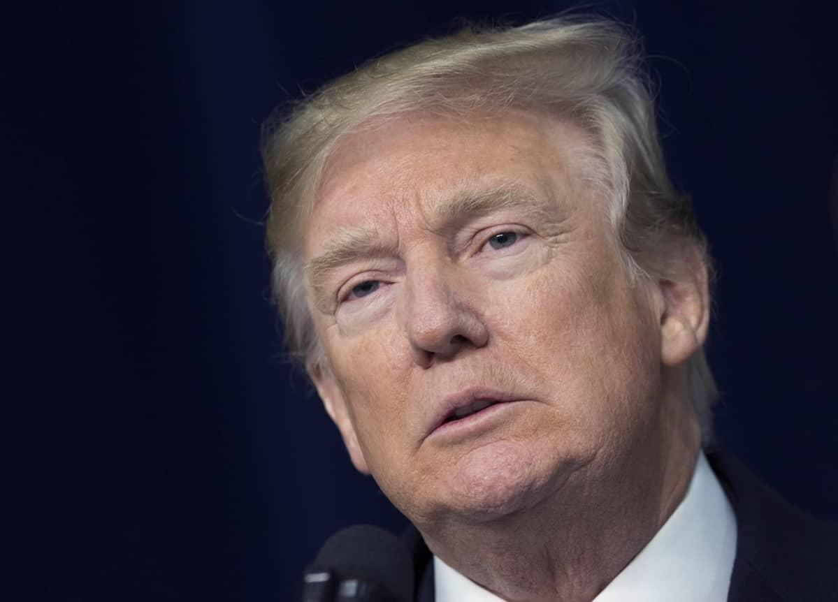 Donald Trump pitää puhettä tammikuussa 2018.