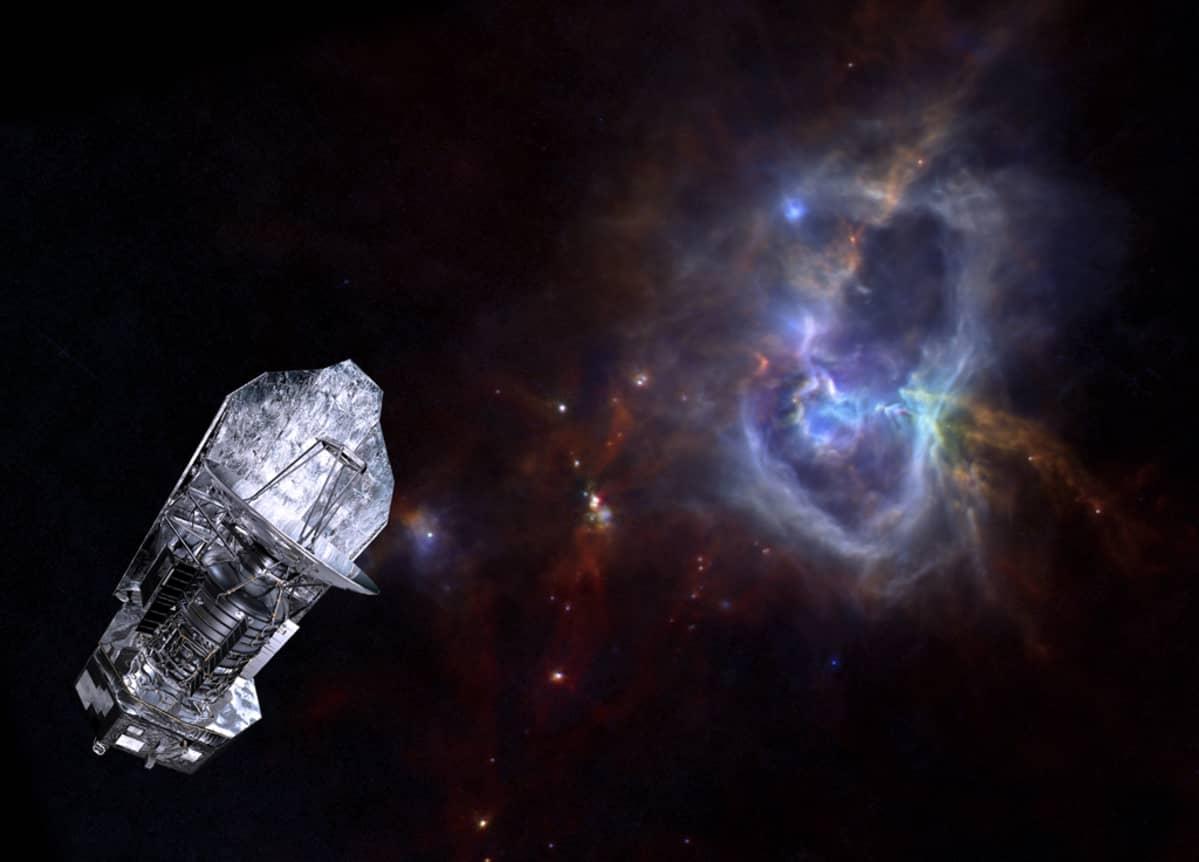 ESA:n havainnekuvassa avaruusobservatorio Herschel taustallaan sen itsensä kuvaama kaasusumu W40.