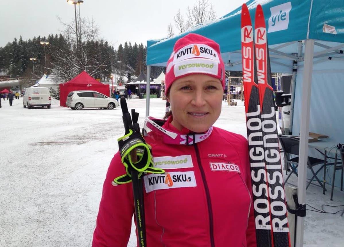 Aino-Kaisa Saarinen kuvattuna Lahden urheilukeskuksessa Salpausselän kisoissa 2016.