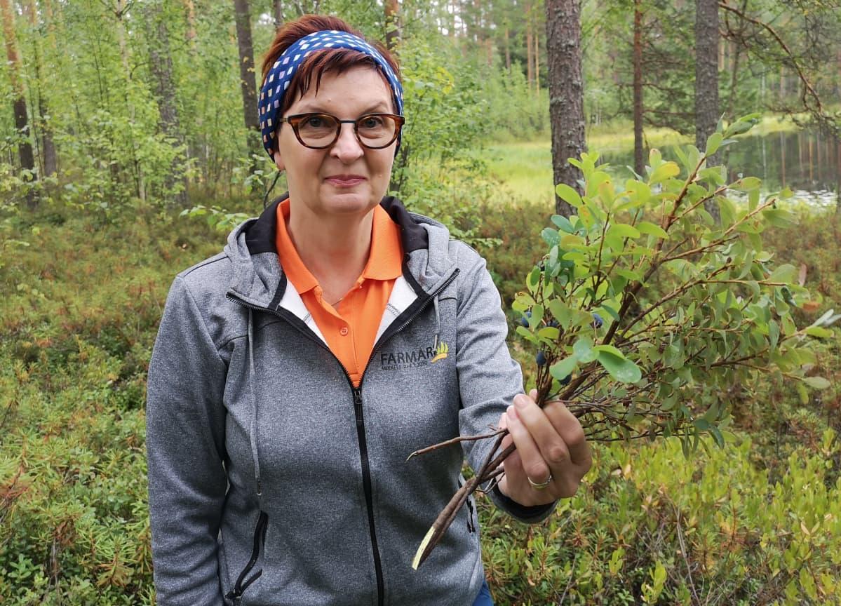 Mervi Kukkonen suosittelee kerämään juolukkaa ja variksenmarjaa, jos mustikkaa ei löydy.