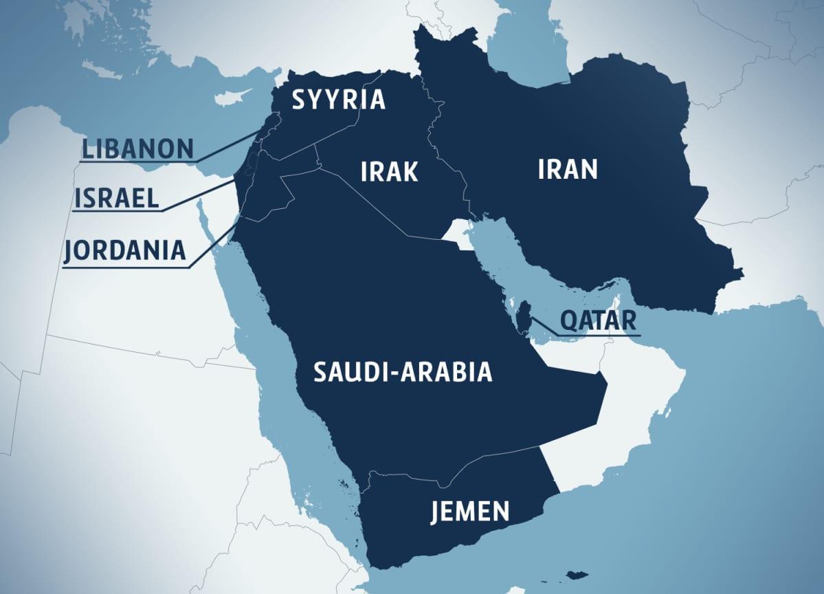 Kartta Lähi-idän alueesta