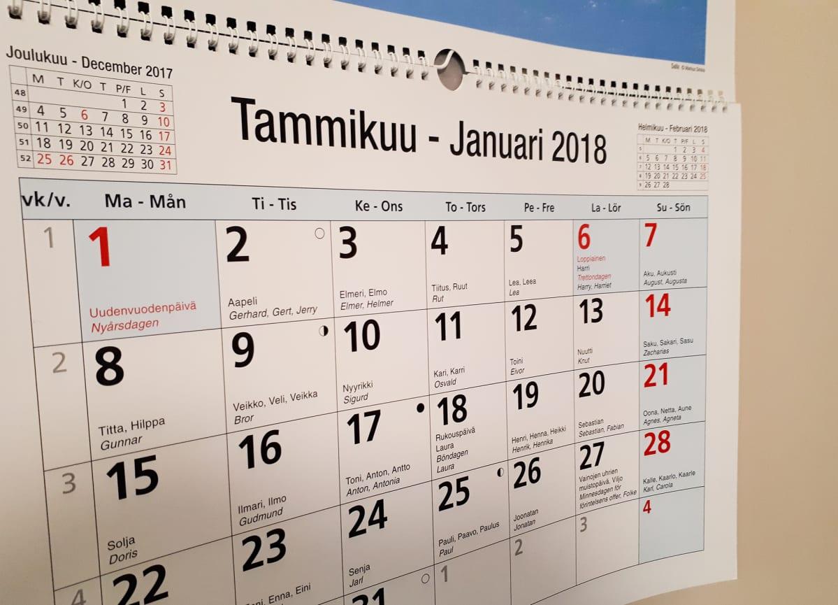 Seinäkalenteri almanakka vuodelle 2018