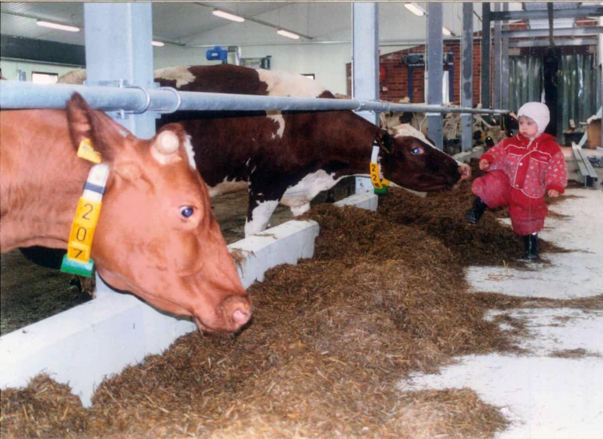 Vilma Nurminen maatilan töissä lapsena