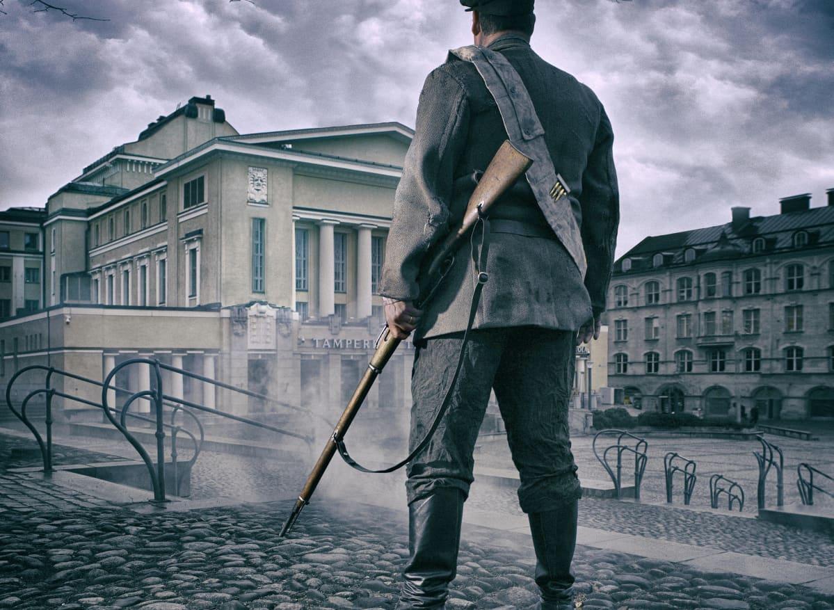 Tampereen teatterin rakennus on yksi esityksen 1918 teatteri taisteluista henkilöistä.