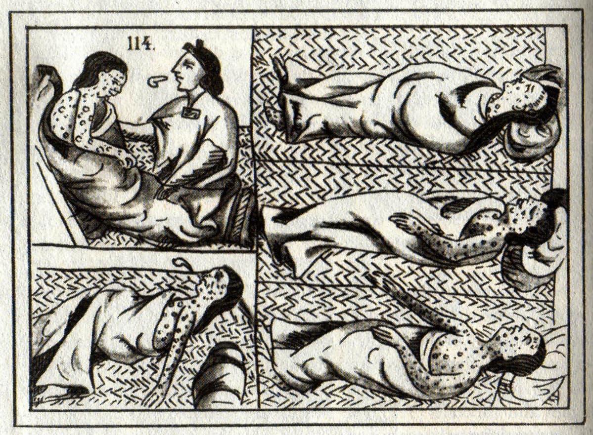 Piirroskuva neljästä rakkuloiden peittämästä potilaasta sekä lääkäristä.