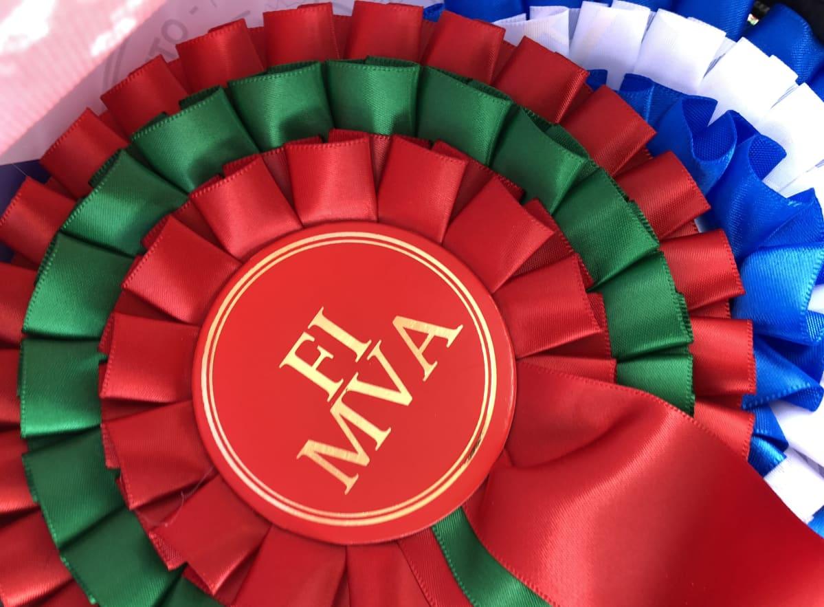 Punavihreä Suomen muotovalion ja alla sinivalkoinen ruusuke, joka annetaan sertin voittaneelle koiralle.