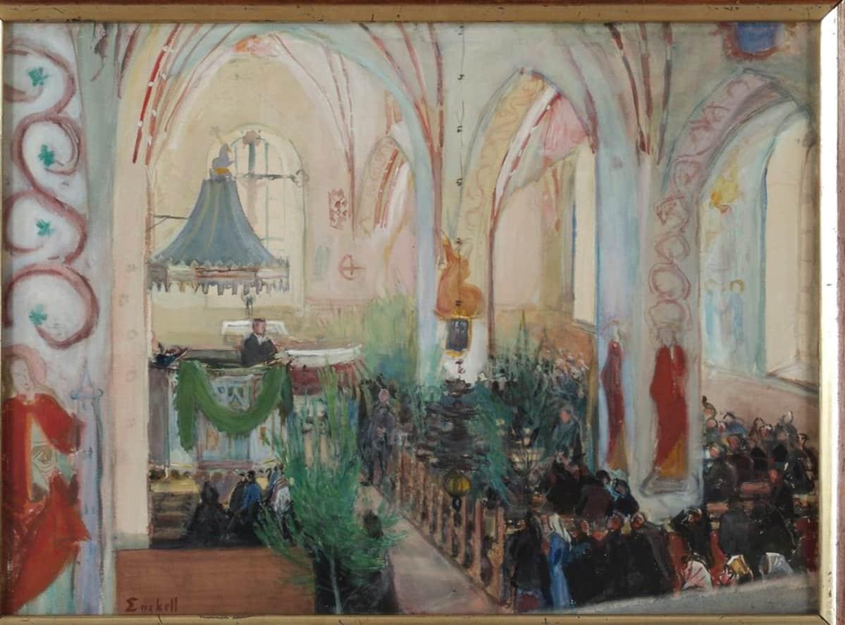 Magnus Enckellin teos Juhannusjumalanpalvelus Lohjan kirkossa vuodelta 1899.