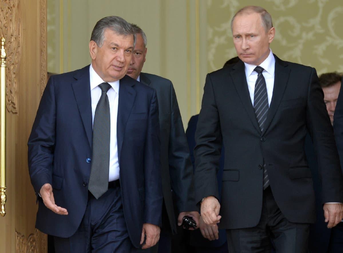Vladimir Putin ja Uzbekistanin Shavkat Mirzijojev kuvattuna 6. syyskuuta 2016.