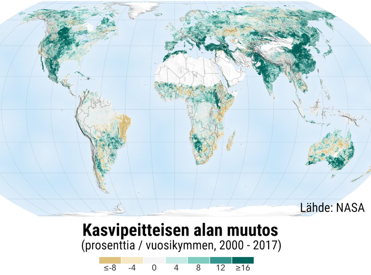 Kasvipeitteisen alan muutos maailmassa