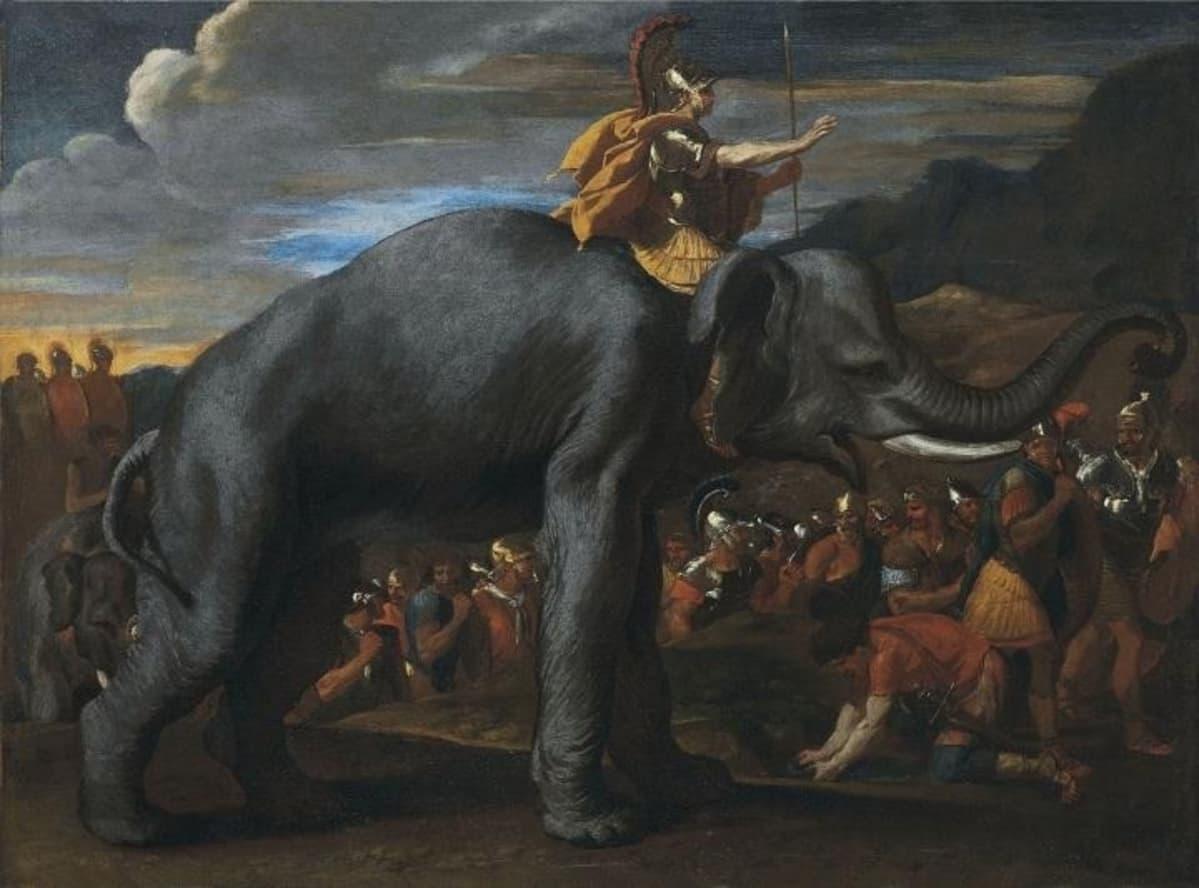 Öljymaalaus haarniskoidusta, töyhtökypäräisestä Hannibalista Norsun selässä joukkojensa ympäröimänä.