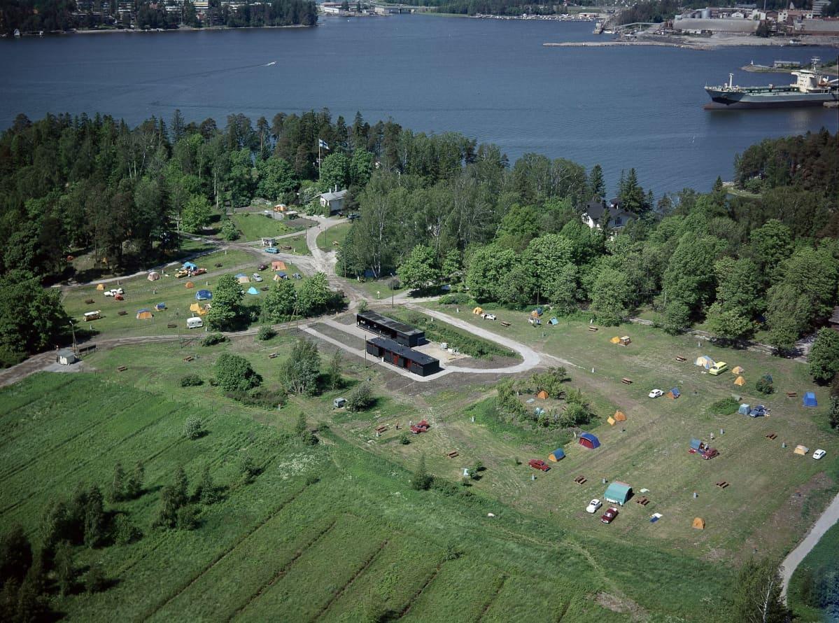 Tullisaaren leirintäalue vuonna 1969 Helsingin Laajasalossa, ilmakuva