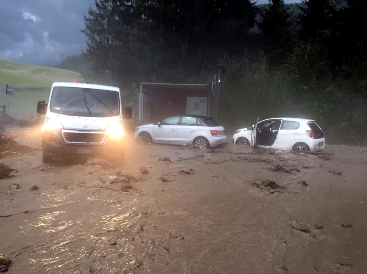 Alto Adige region fire fighters' picture shows the damages caused by violent cloudburst on the previous  night in Upper Pusteria Valley, especially in the Braies and Dobbiaco area of Bolzano, in Northern Italy, 06 August 2017.