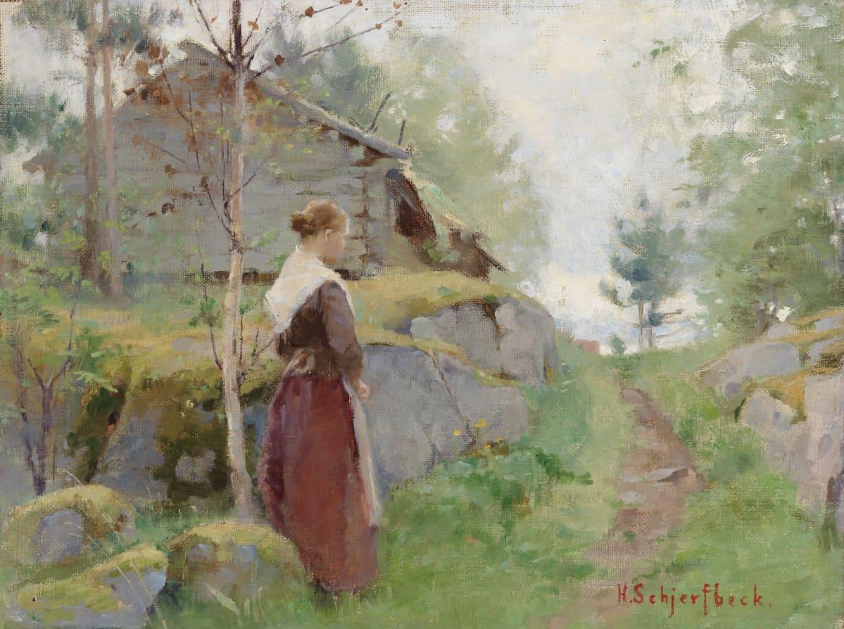 Flickan från Barösund Tyttö Barösundista (1885–1890). Yksityiskokoelma. helene schjefbeck