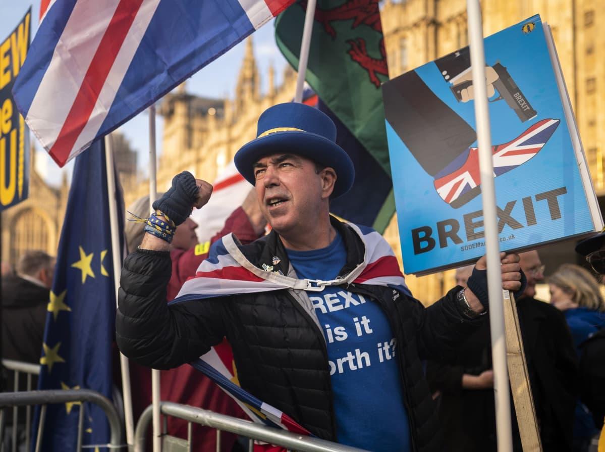 Brexitin vastustaja lippuineen ja kyltteineen.