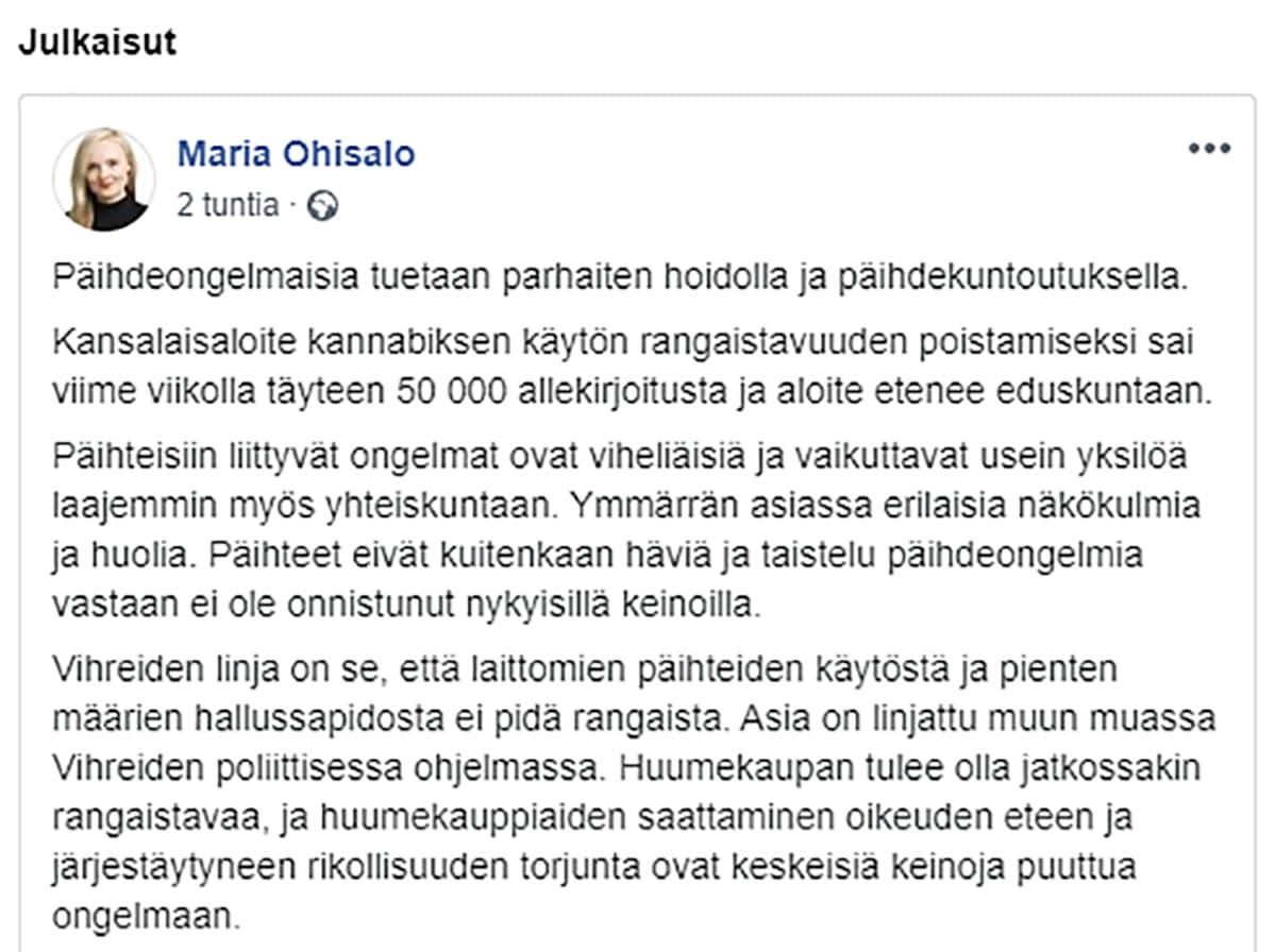 Maria Ohisalon Facebook-päivitys 30.10.2019.
