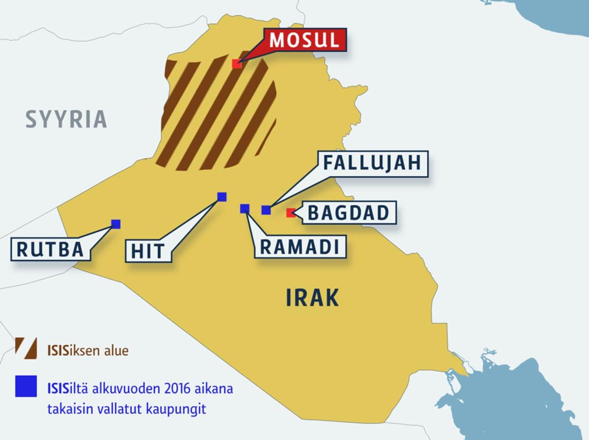 Irakin kartta, jossa merkittynä on ISISin alue sekä kaupungit Mosul, Rutba, Hit, Ramadi ja Fallujah pääkaupunki Bagdadin ohella.
