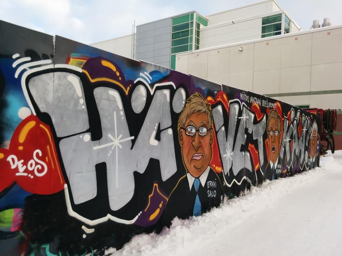 Graffitiseinä Vantaan Myyrmäessä