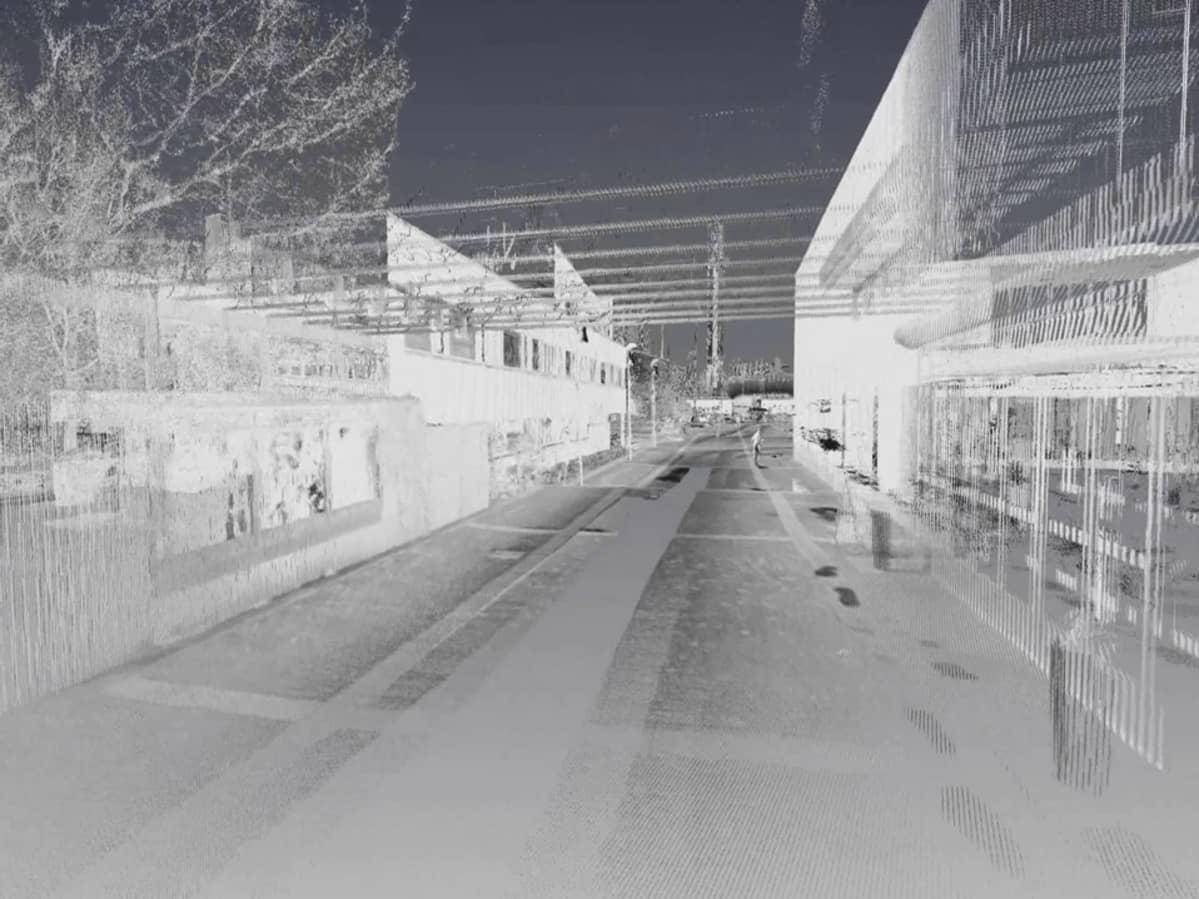 Laserkeilauslaitteen välittämä kuva kaupunkiympäristöstä.