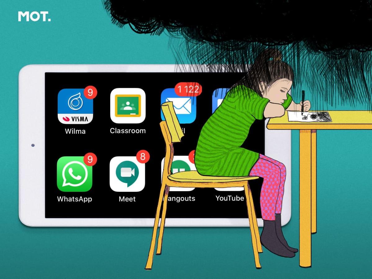 Kuvituskuva: tyttö piirtää pöydän ääressä, taustalla tabletti, jossa applikaatioita.