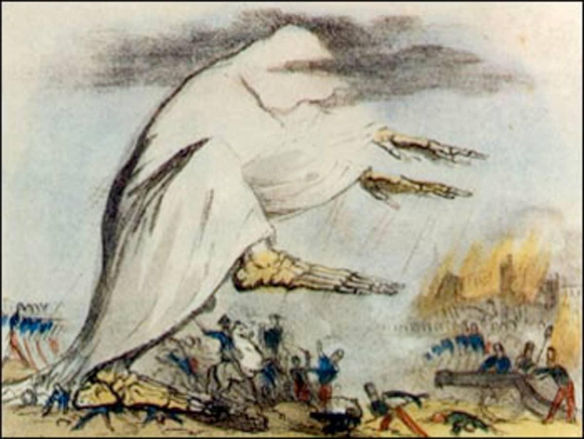 Piirro isosta kaapuun verhoutuneesta luurangosta, joka talloo sotilaita.