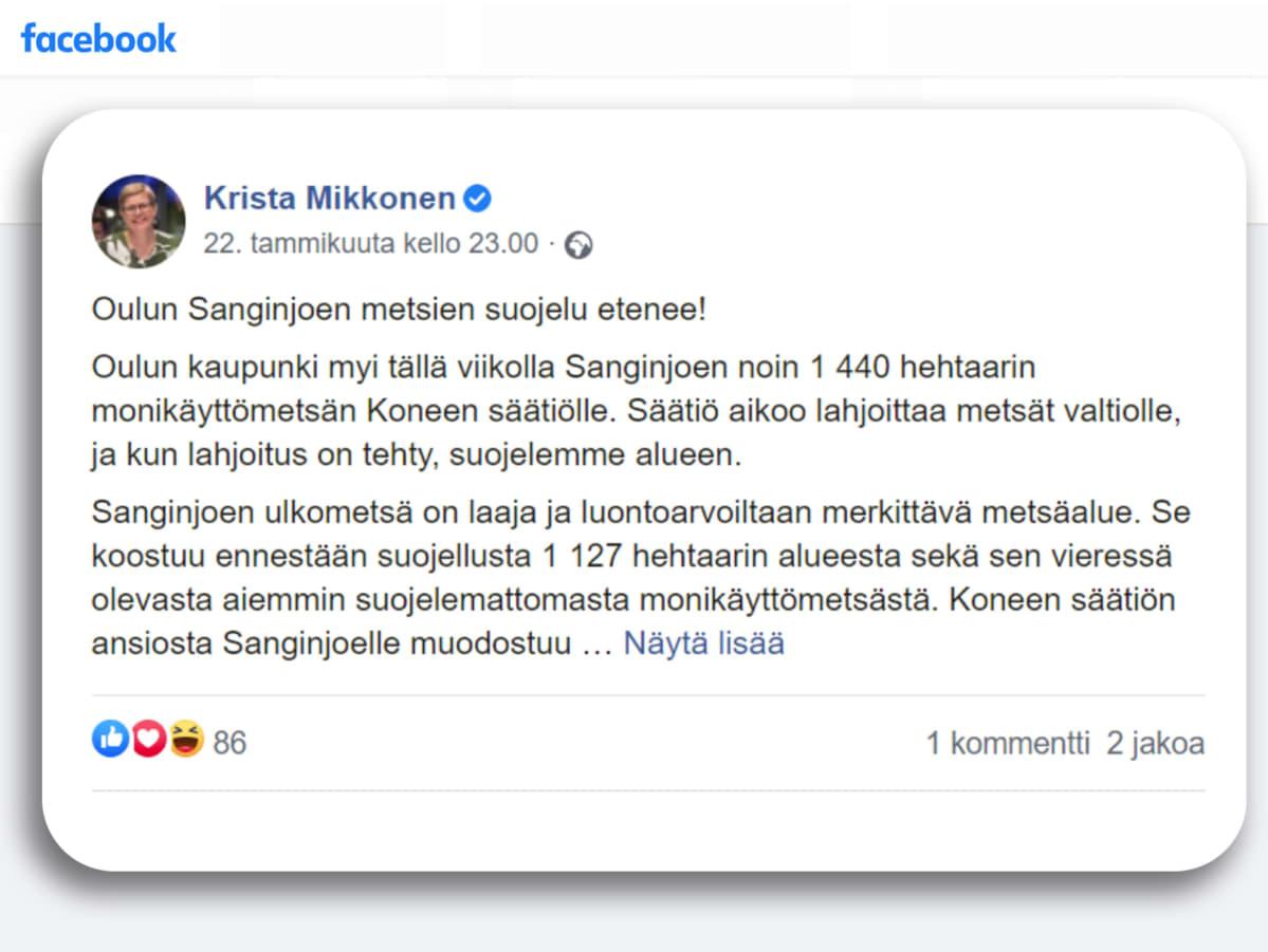 Kuvakaappaus Krista Mikkosen kommentista Facebookista
