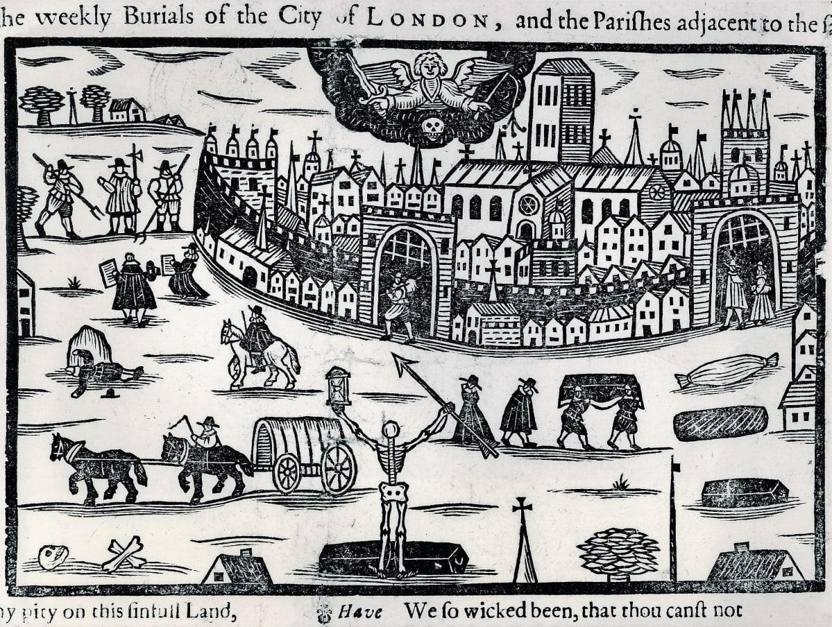 Piirroksessa kaupungin ulkopuolelle haudataan ruton uhreja. Keskiössä on arkun edessä seisova luuranko, jolla on toisessa kädessään tiimalasi ja toisessa keihäs.