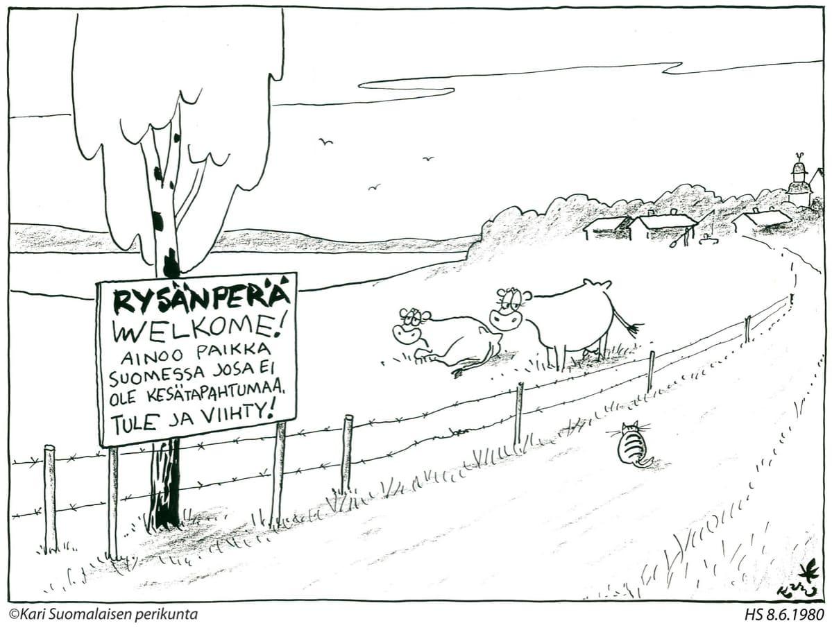 Kuva maalaisraitista, jonka varrella kaksi lehmää makoilee nurmella ja vieressä kyltti jonka mukaan tällä ei tapadu mitään