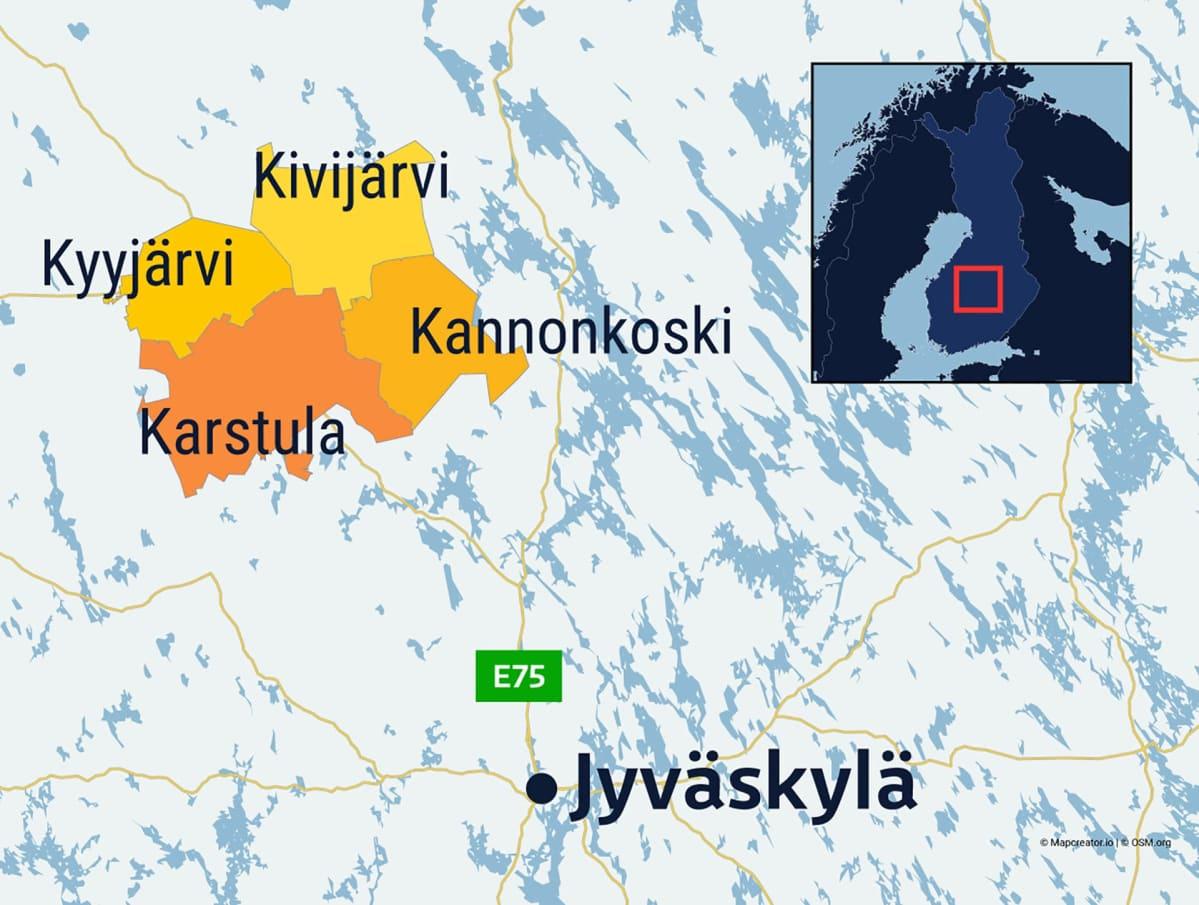 Grafiikkaa mahdollisesta neljän kunnan kuntaliitoksesta Keski-Suomessa.