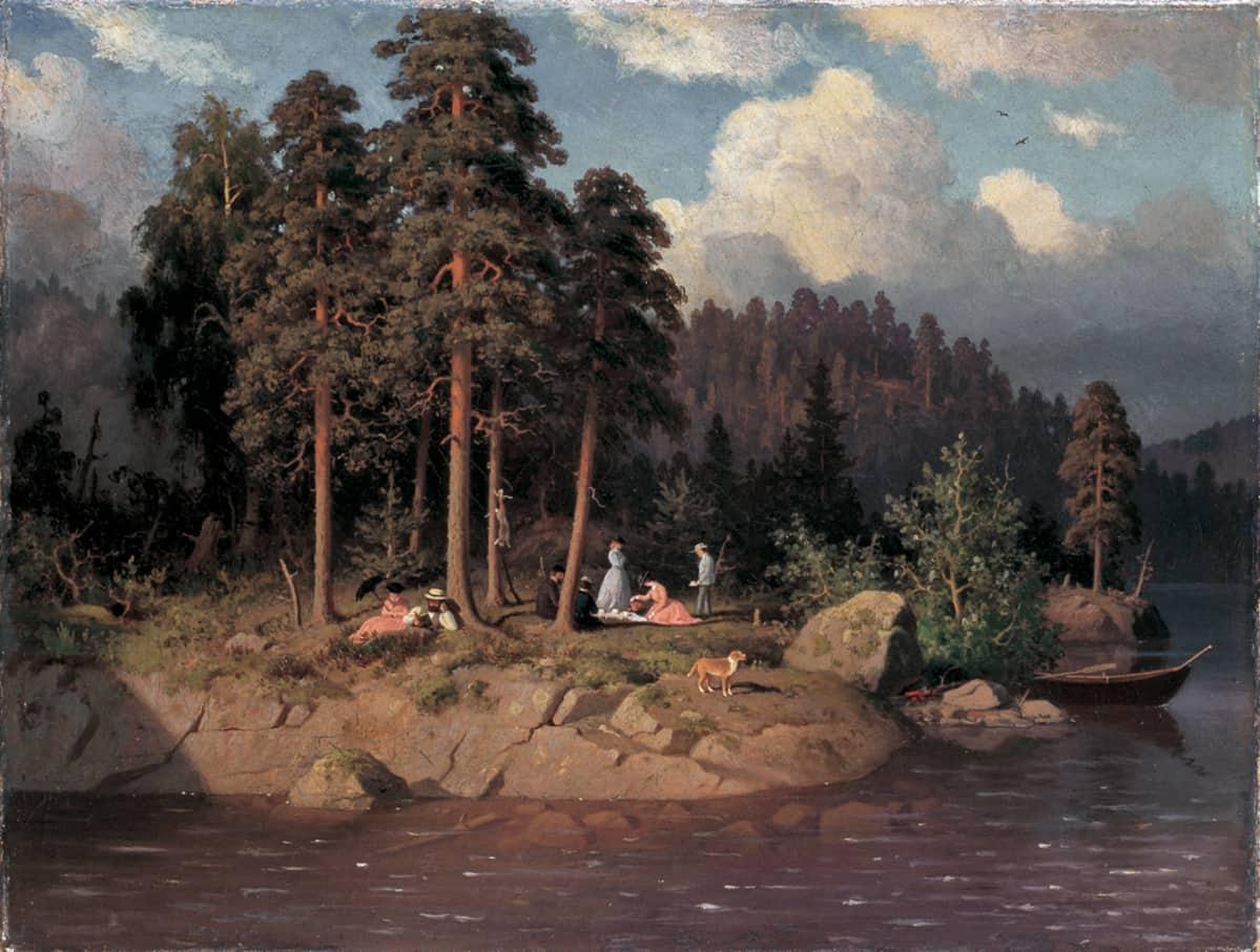 Ferninand von Wright: Retkiseurure Haminalahdella (1869), öljy kankaalle.