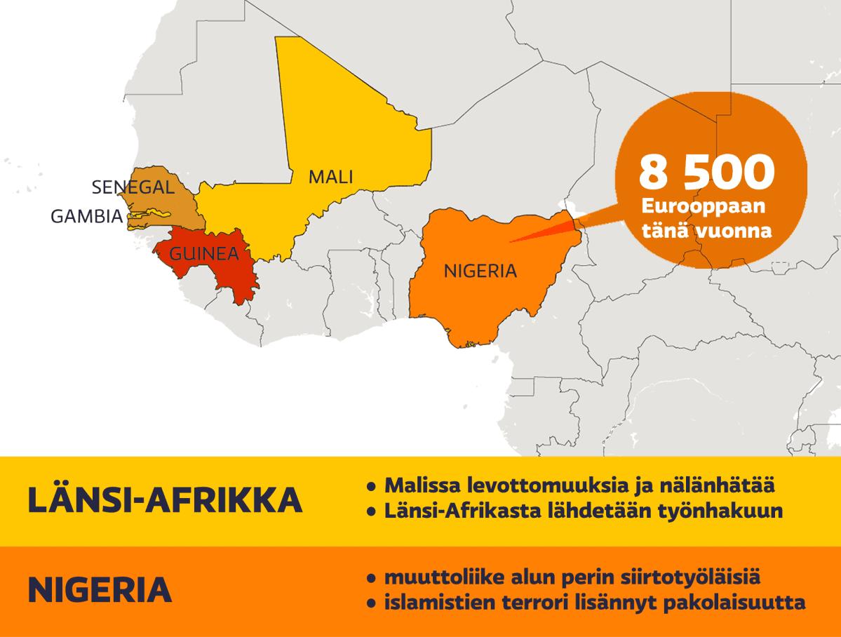 Kartta Länsi-Afrikan pakolaistilanteesta.