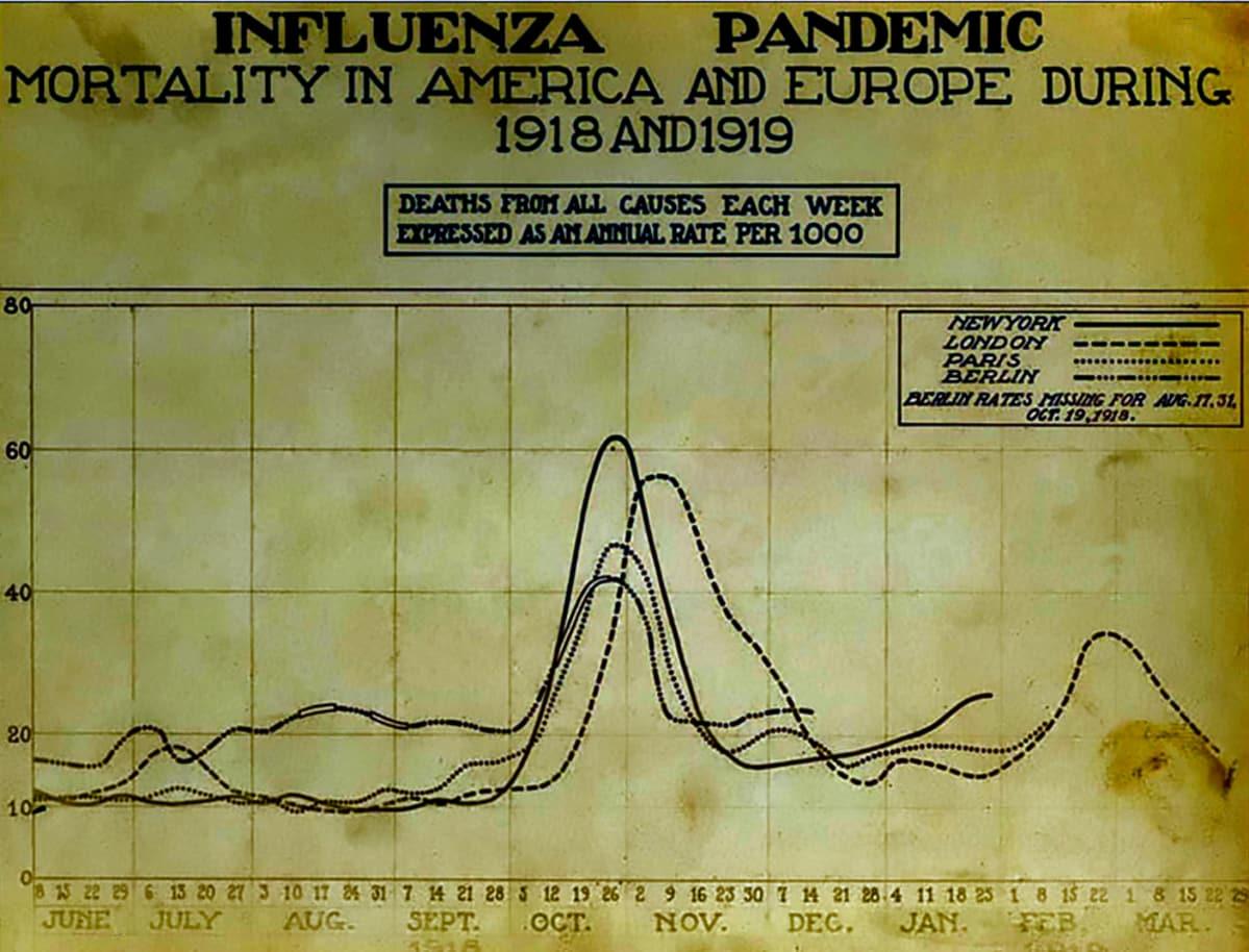 Kellastunut juliste näyttää voimakkaan piikin kuolleisuudessa loka-marraskuussa 1918.