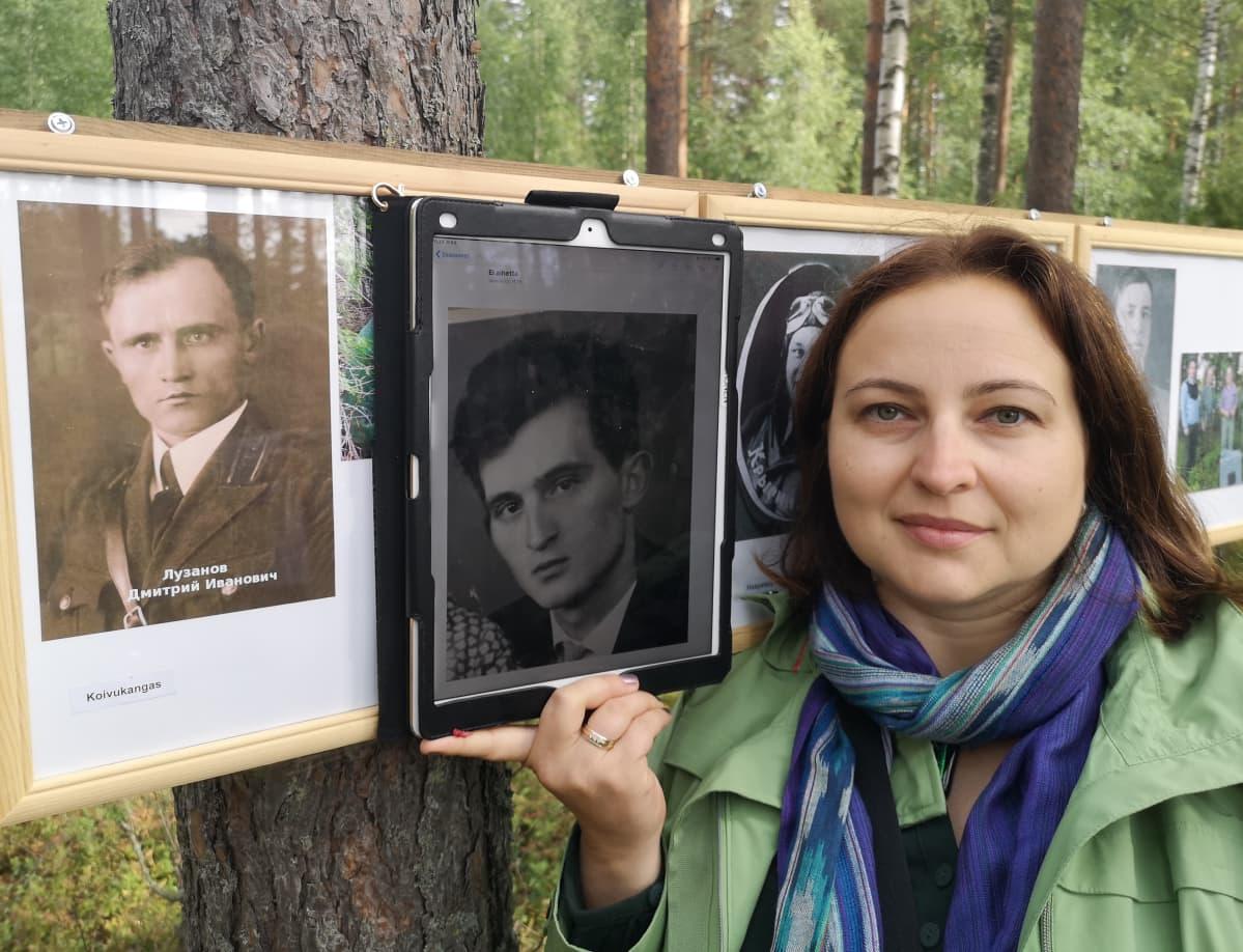 Yelena Matzen isoisä Dimitri Luzanov menehtyi Rantasalmen ilmataistelussa. Keskimmäisessä kuvassa isä Valeri Luzanov.