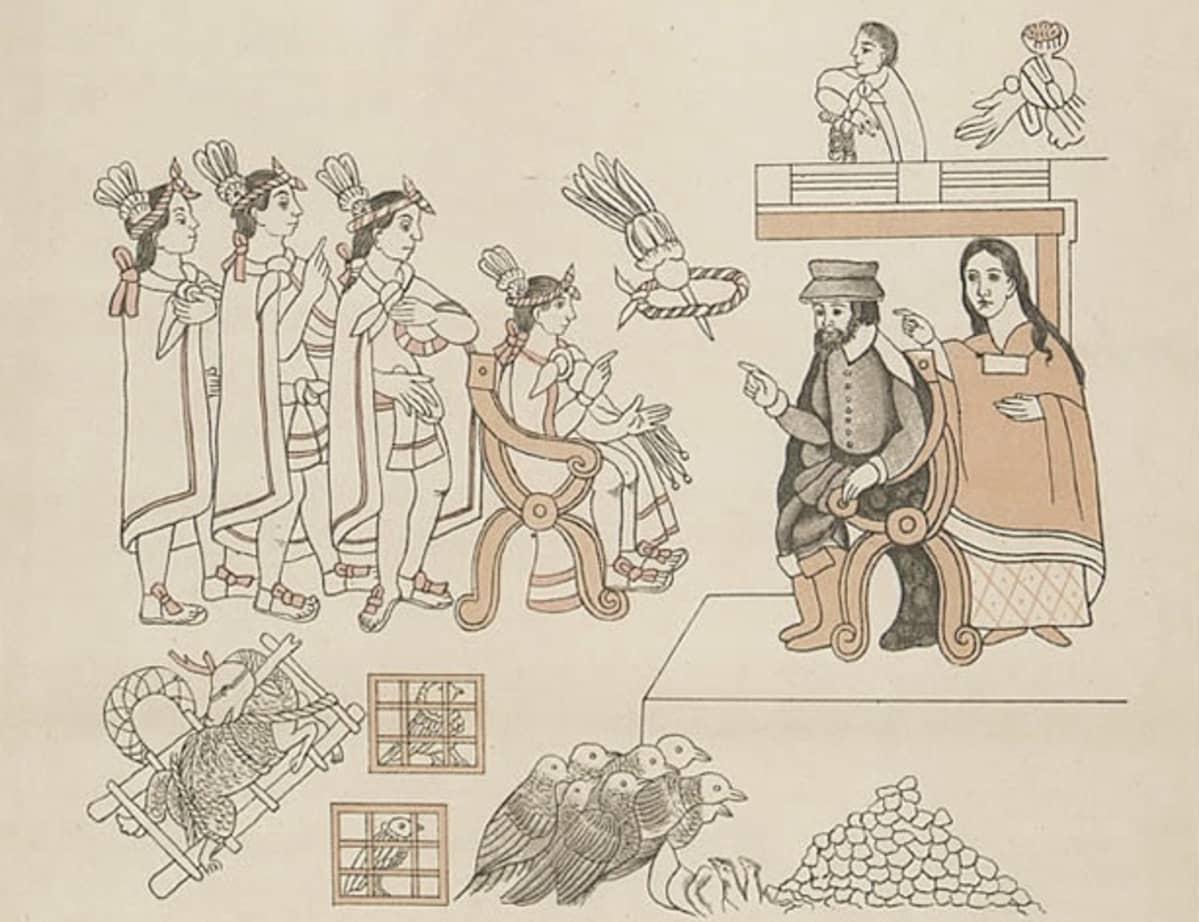 Piirroskuva istuvasta asteekkihallitsijasta ja hänen seuralaisistaan. Vastapäisessä tuolissa espanjalaisasuinen mies intiaanitulkkeineen.