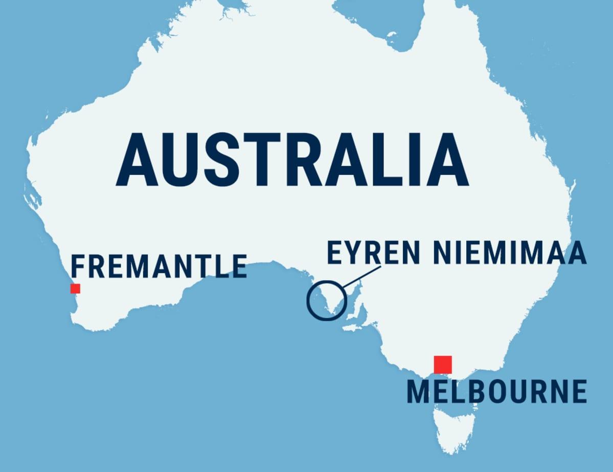Australian kartta, jossa Fremantle, Melbourne ja Eyren niemimaa