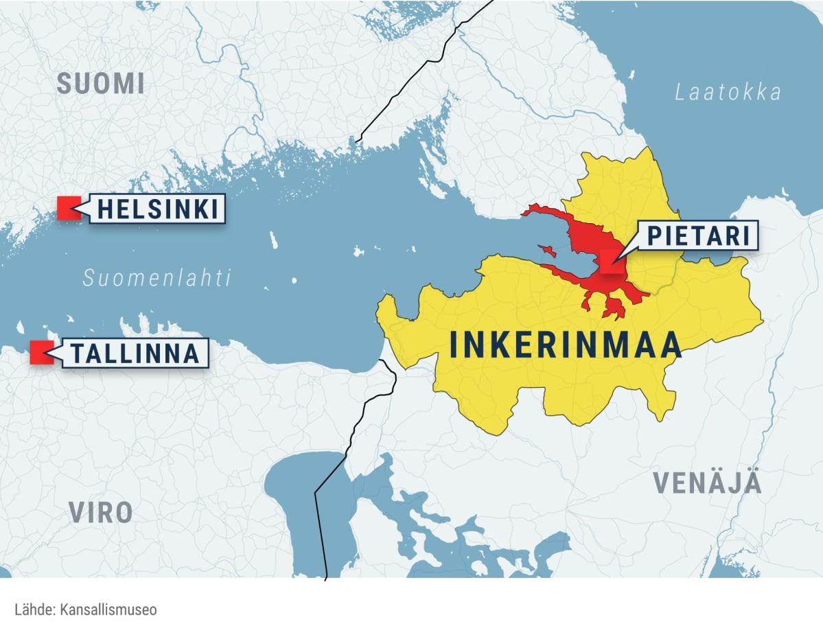 Kartassa näytetään Helsinki, Tallinna ja Pietari, ja miten Inkerinmaa asettuu suhteessa näihin kaupunkeihin. Inkerinmaa on laajahko alue Pieaterin ympärillä.