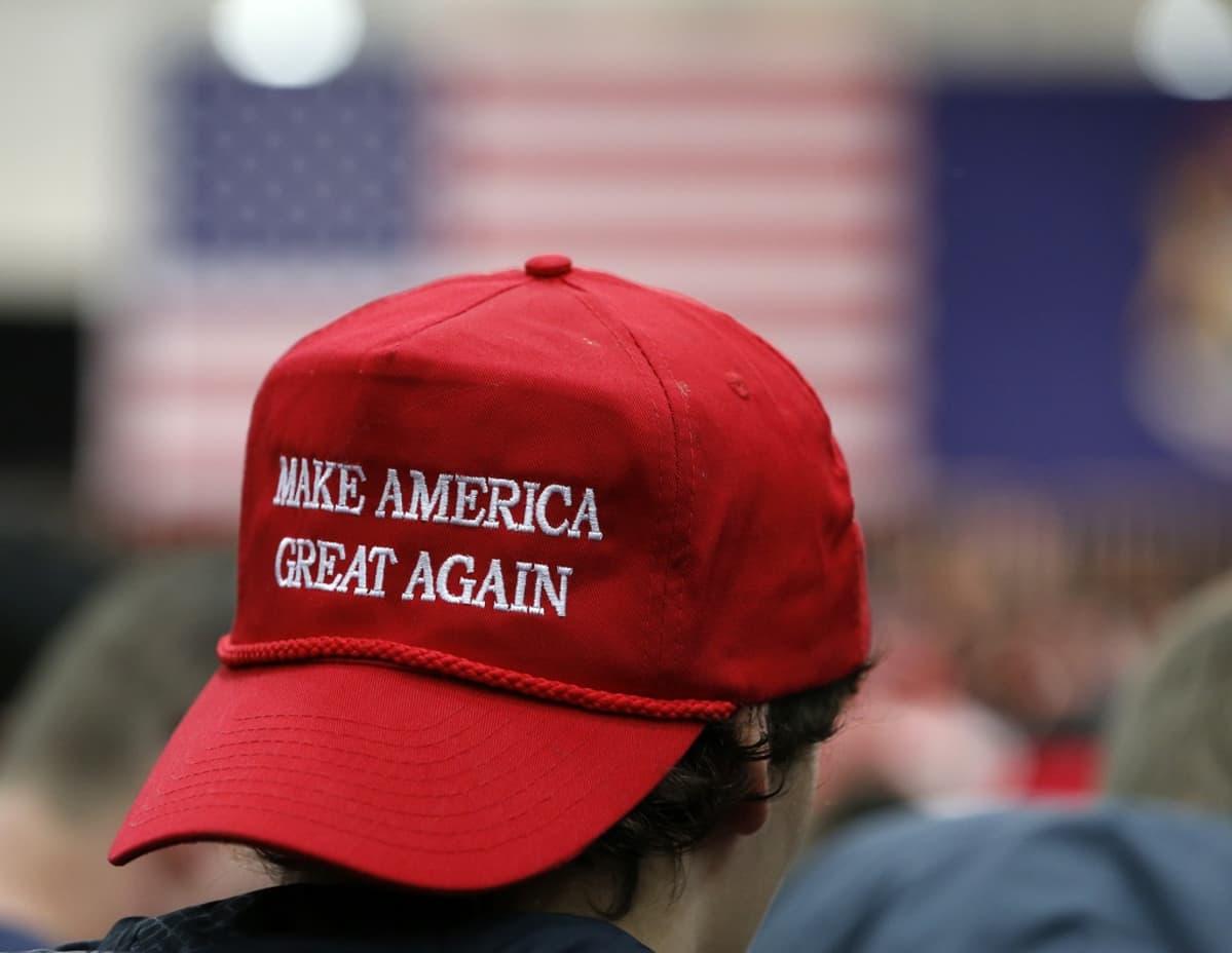Lähikuva Trump lippiksestä