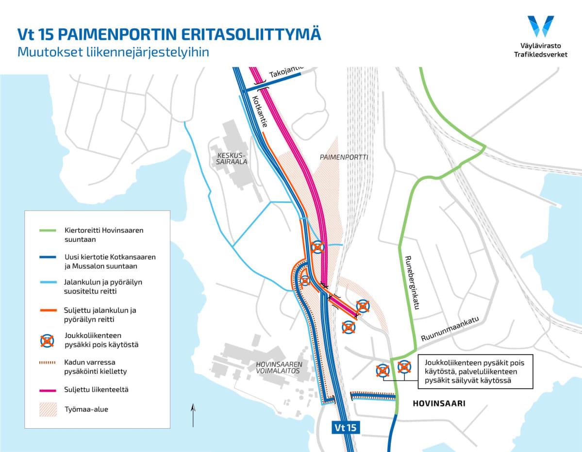 Paimenportin eritasoliittymän rakentaminen aiheuttaa muutoksia liikennejärjestelyihin.