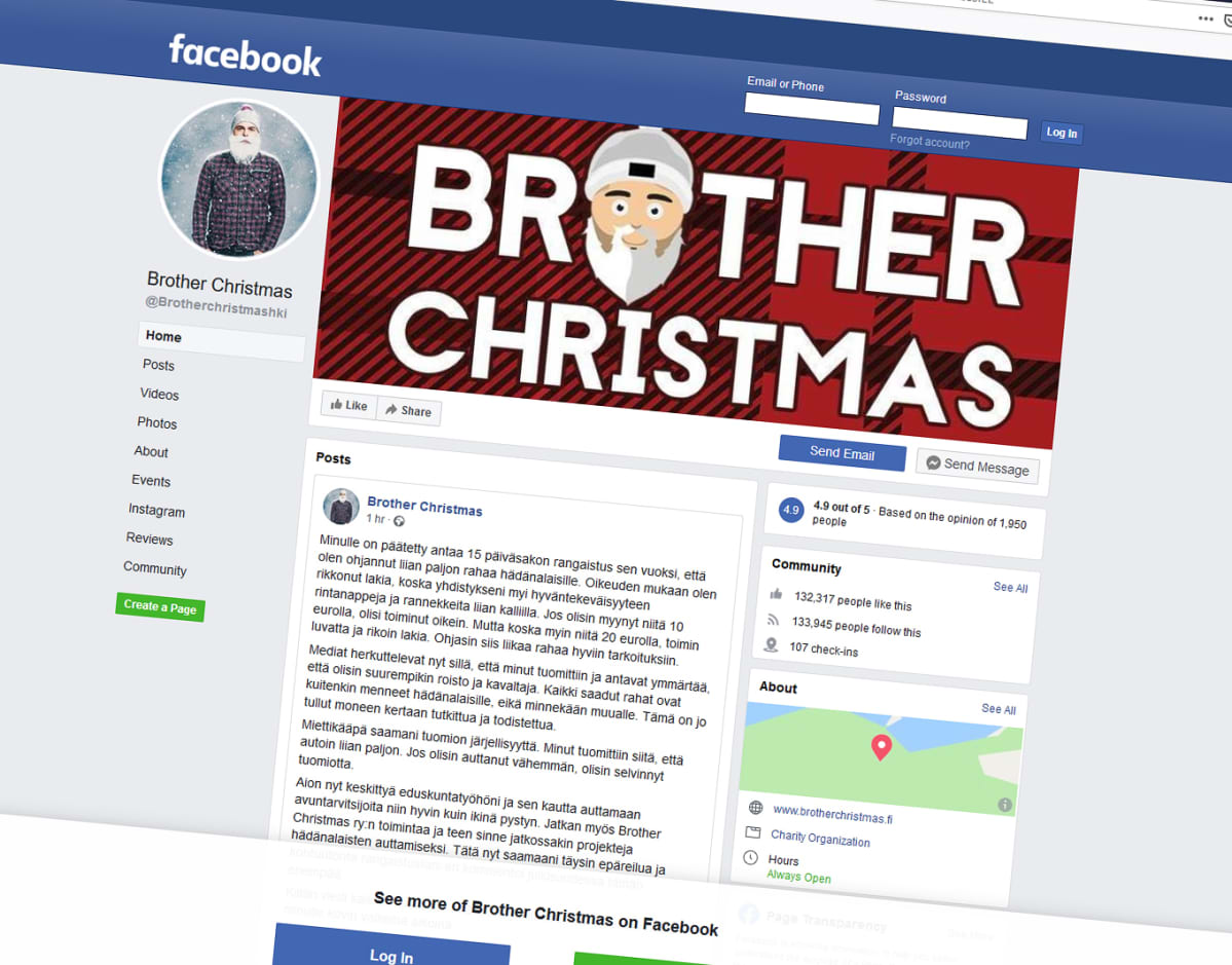 Brother Christmasin facebook-sivu